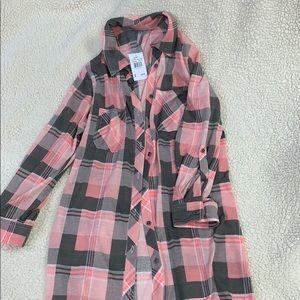 Flannel t-shirt dress
